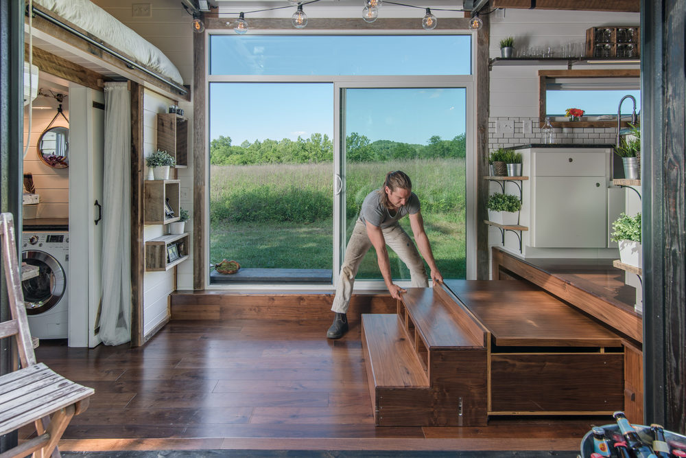 Tiny home with expandable furniture