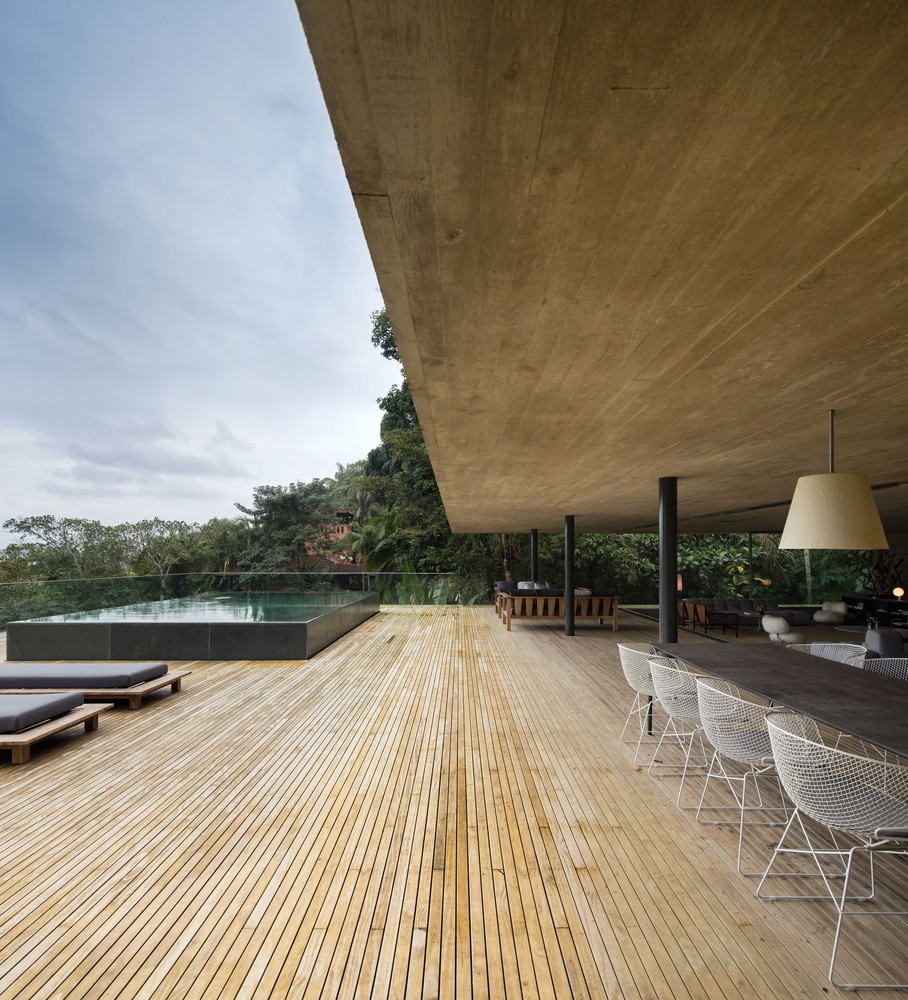 Social core with wooden deck