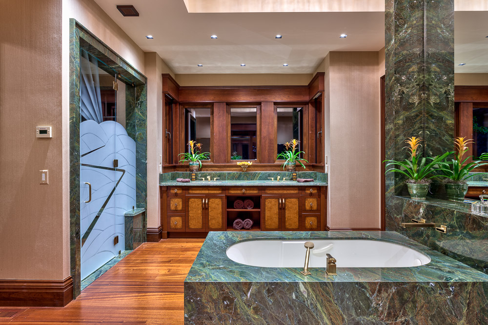 Spacious bathroom with granite tub