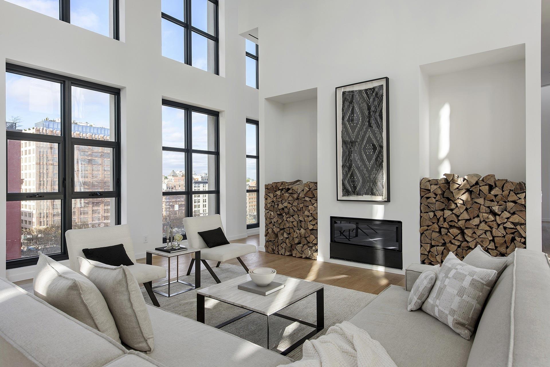Modern white penthouse interior
