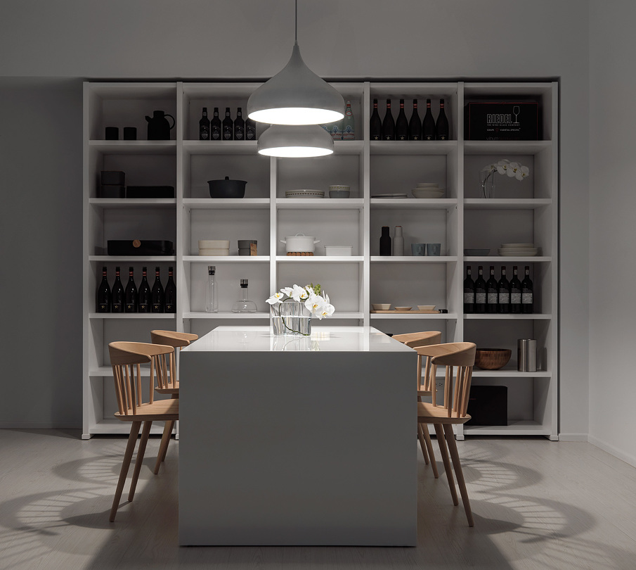 White dining room by night