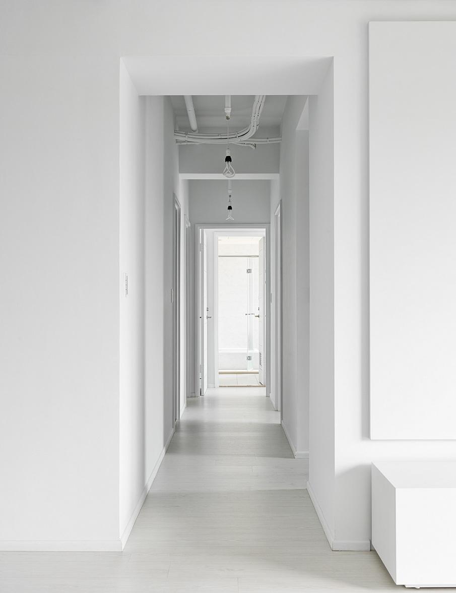 All white corridor
