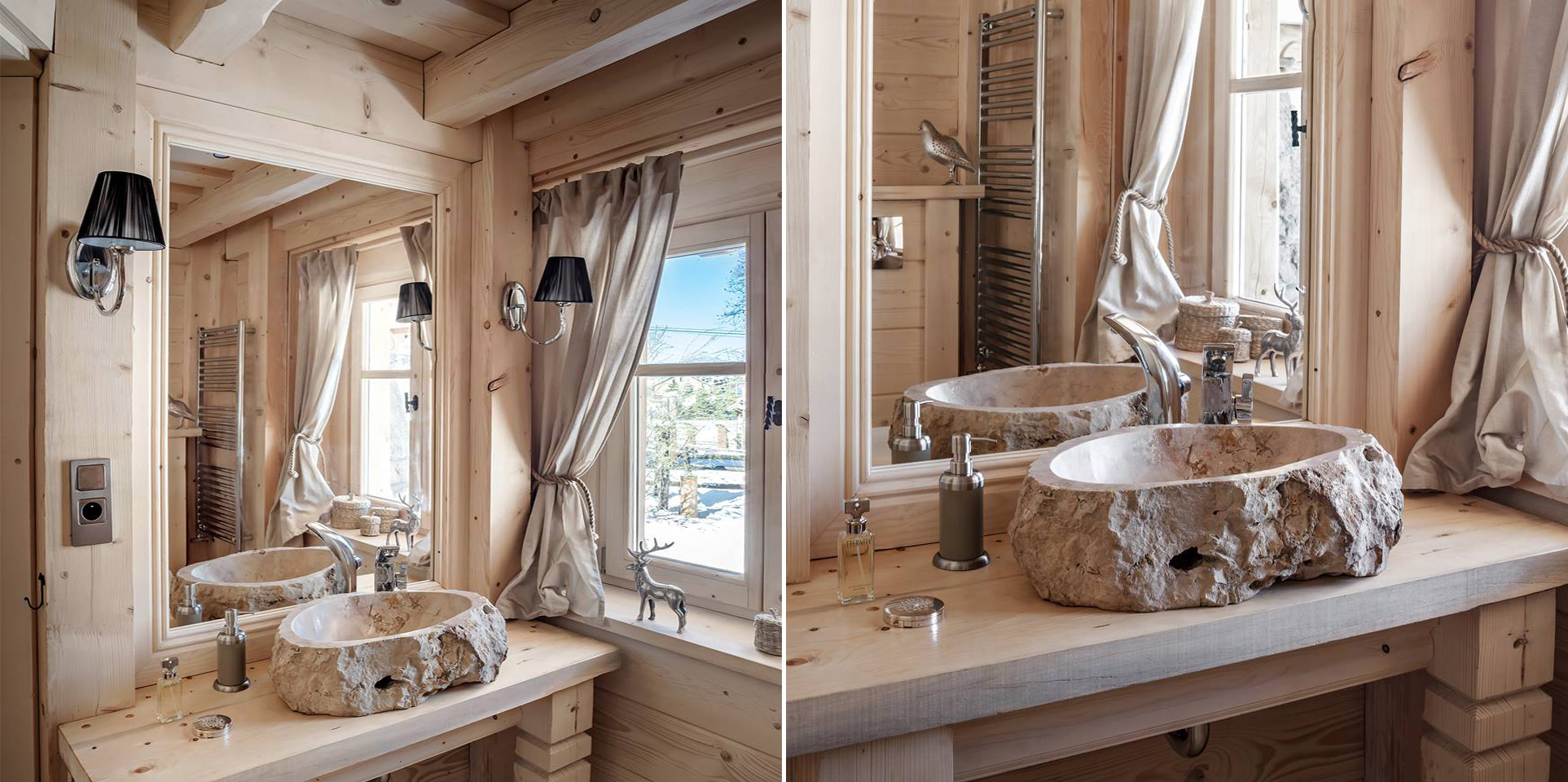 Wooden bathroom with a stone sink