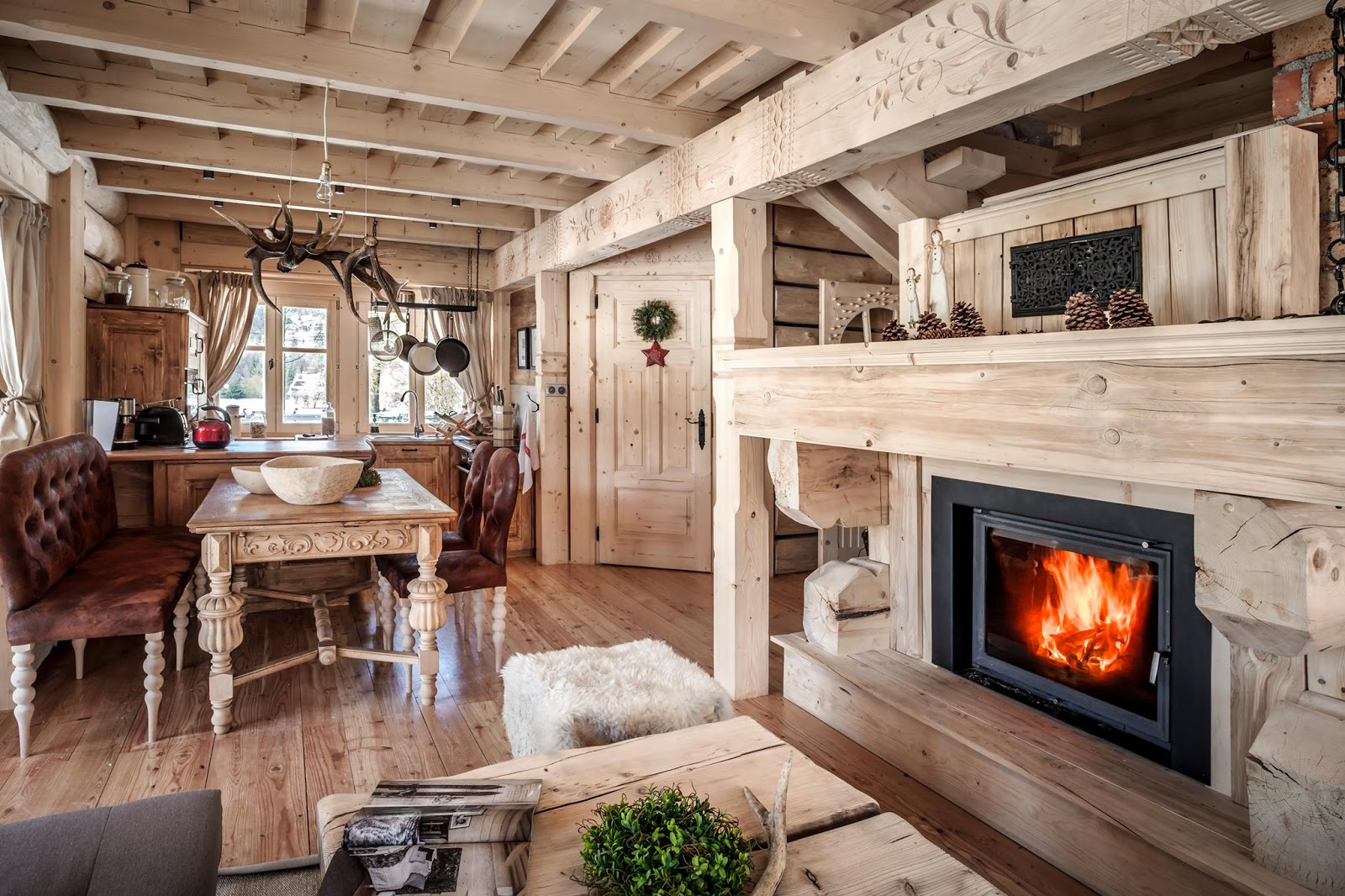 Cozy chalet with a fireplace