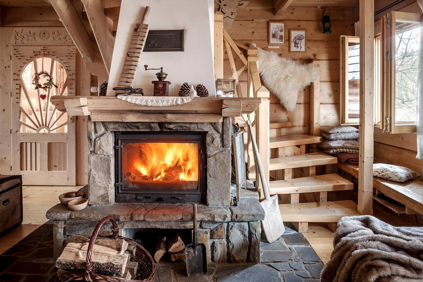 Stone fireplace in a mountain chalet