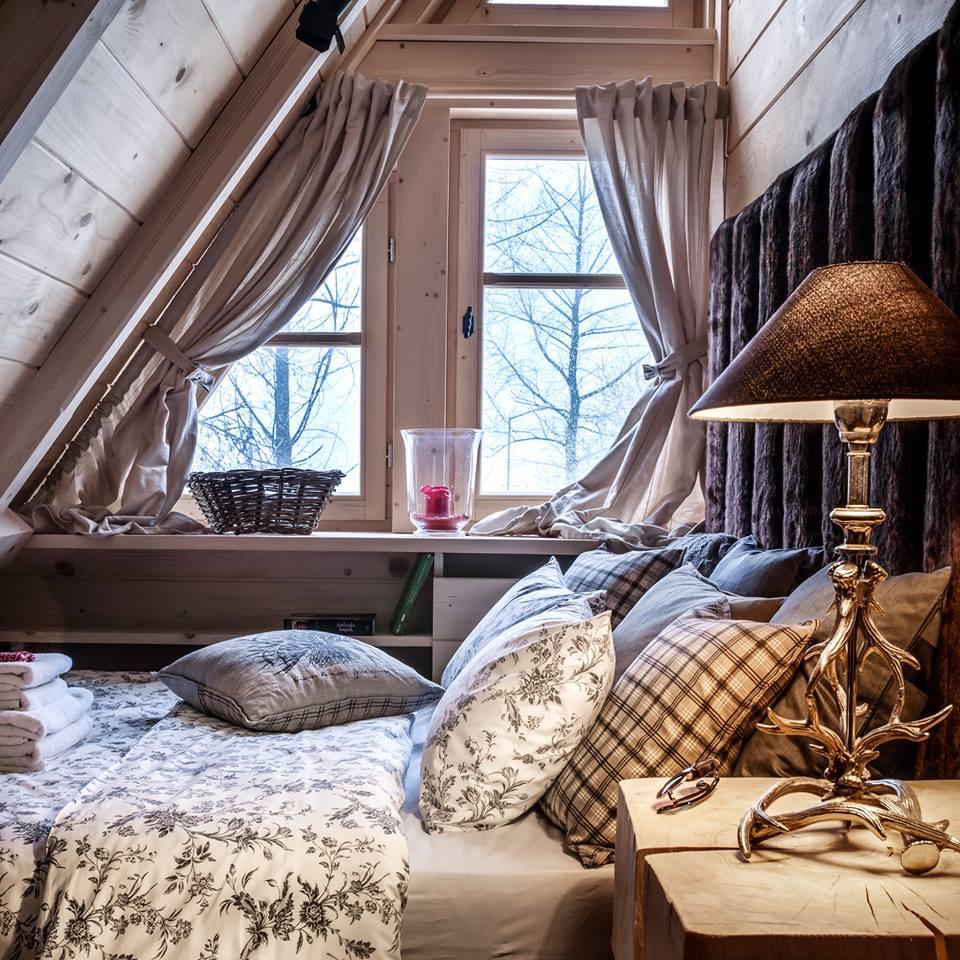Wooden bedroom interior