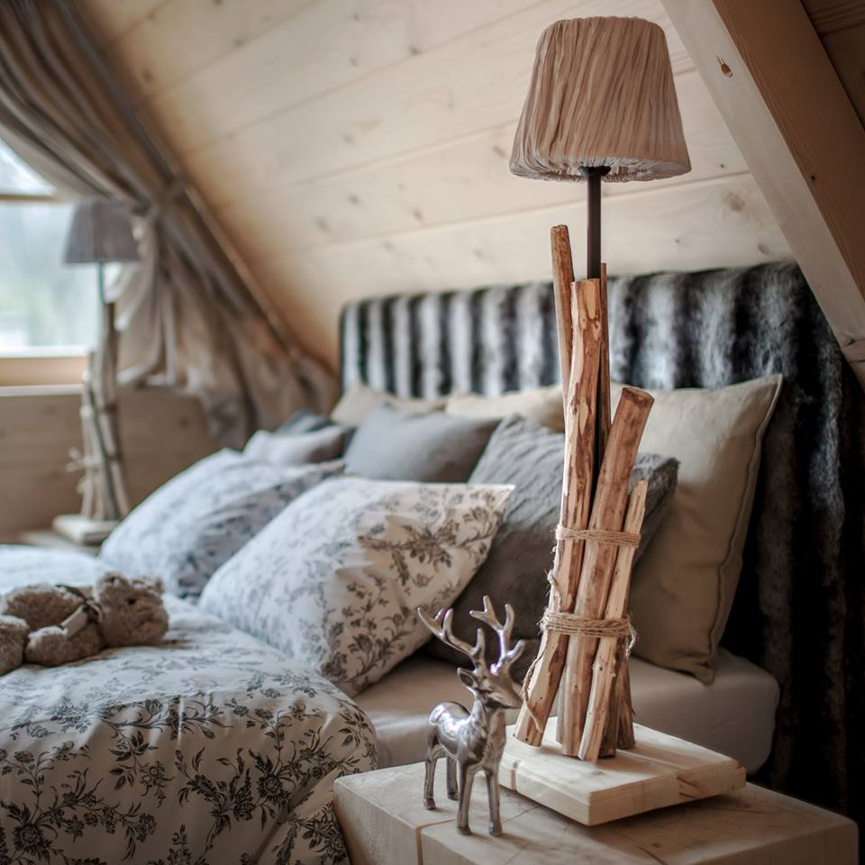 Country bedroom with hand crafted wooden accents