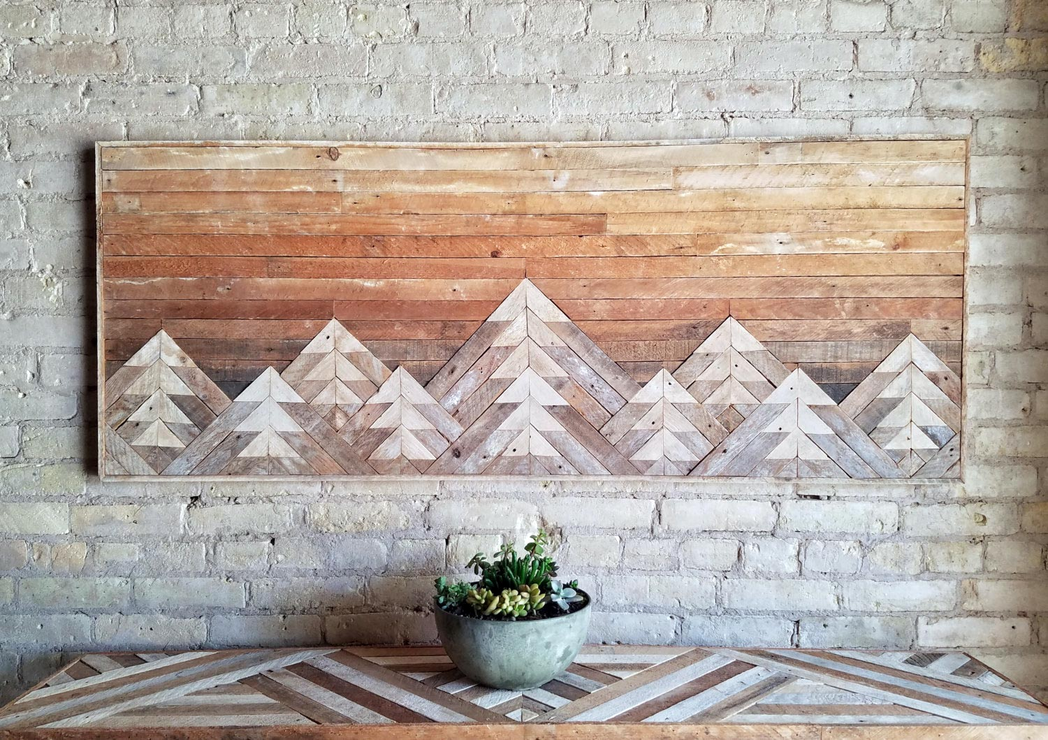 Bon Reclaimed Wood Wall Art With Mountains