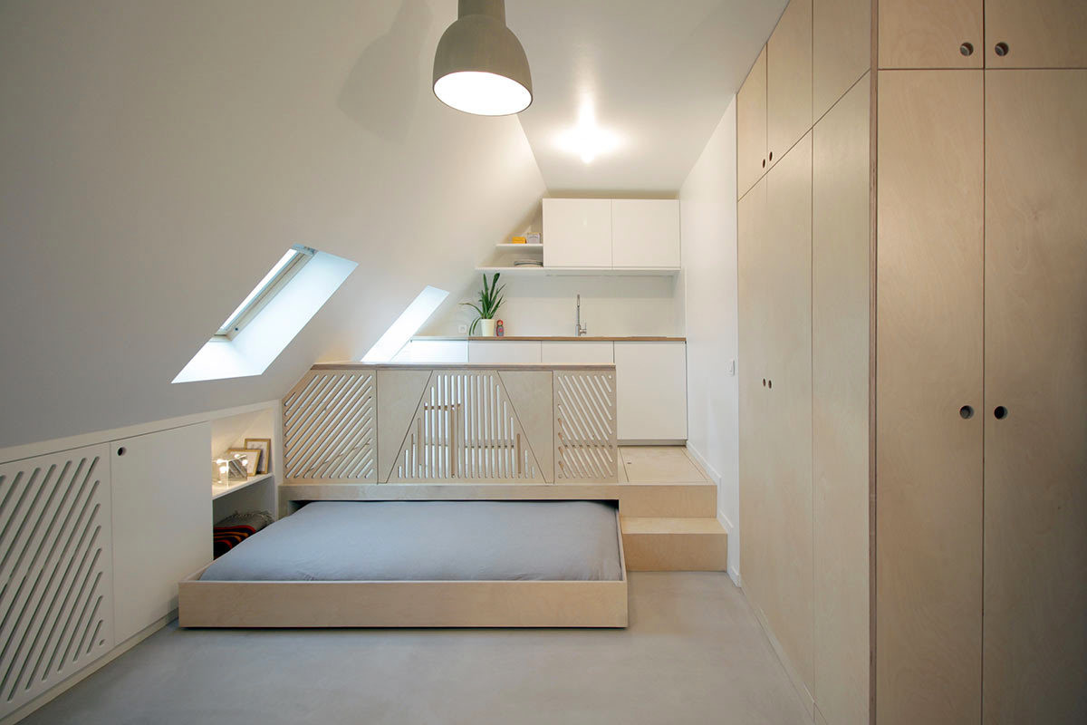 Attic studio with roll-out bed