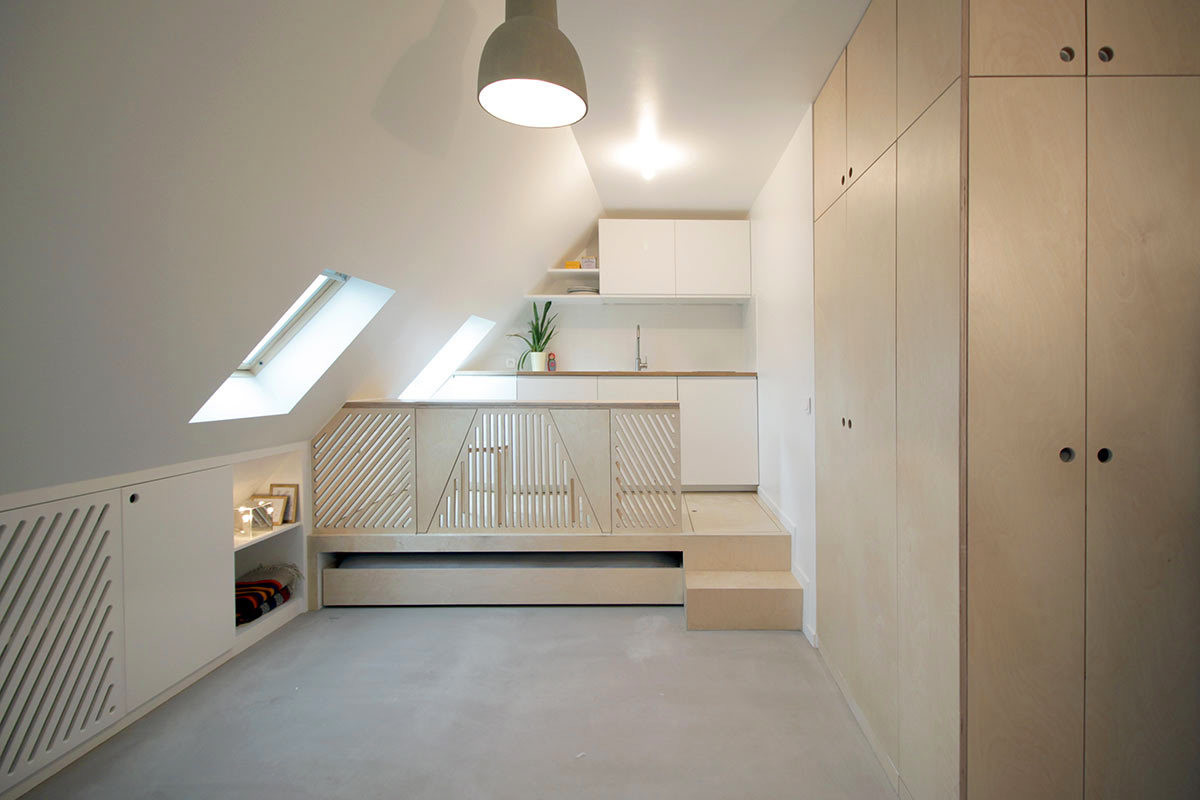 Attic studio in pale shades
