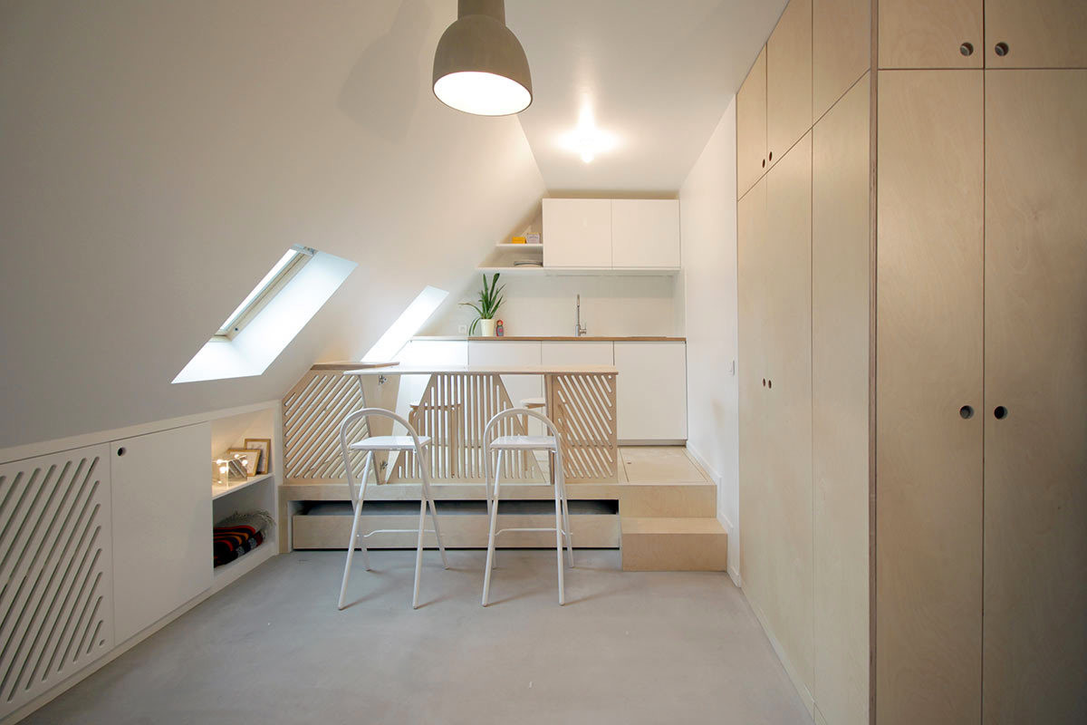 Dining space in a tiny attic studio