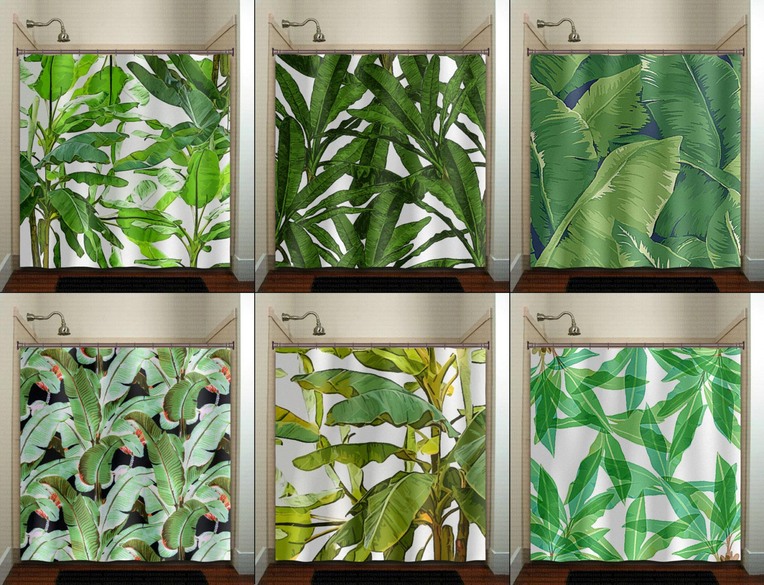 Tropical leaf shower curtains