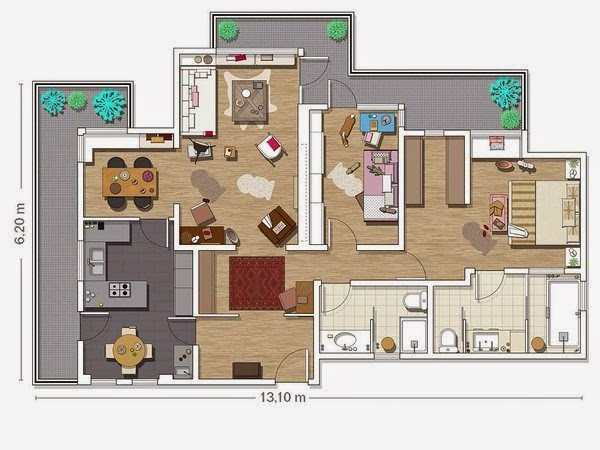 Floor plan of a vintage apartment in Barcelona