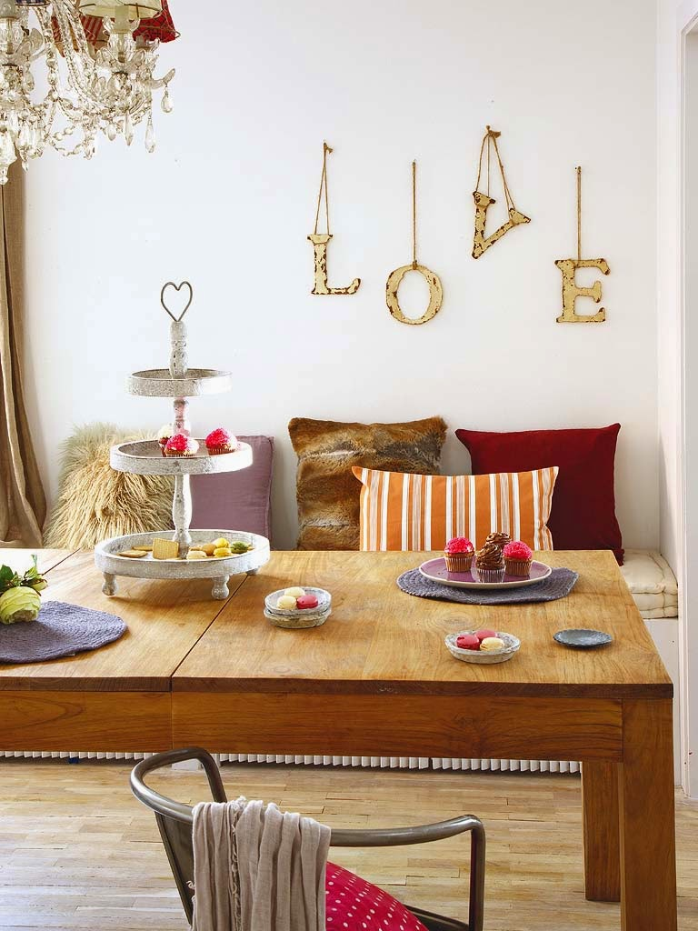 Dining table and LOVE sign wall decoration