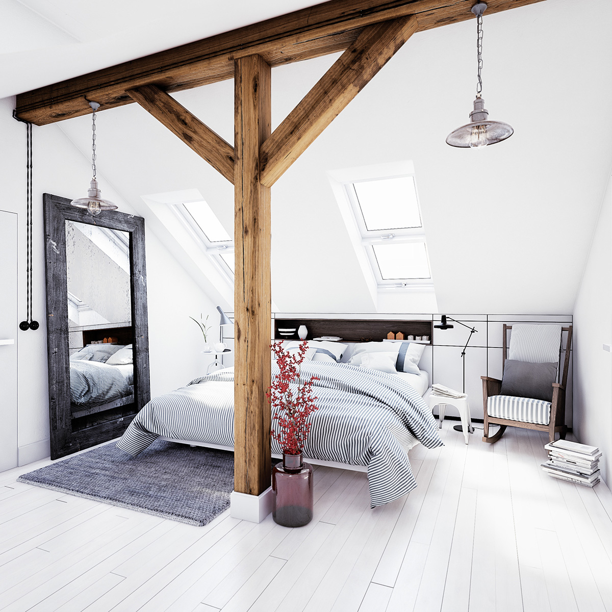 White loft bedroom