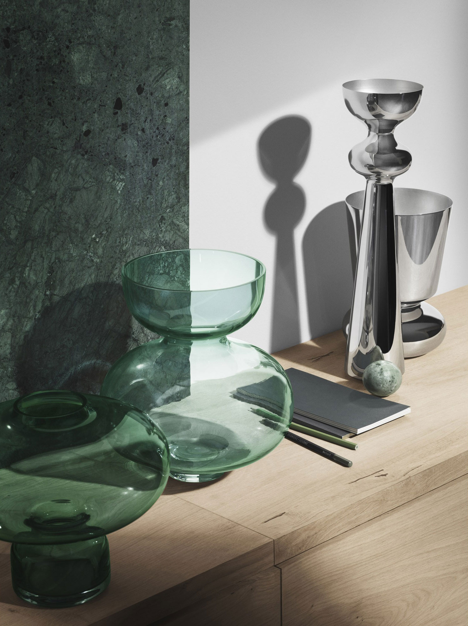 Steel and glass homeware collection