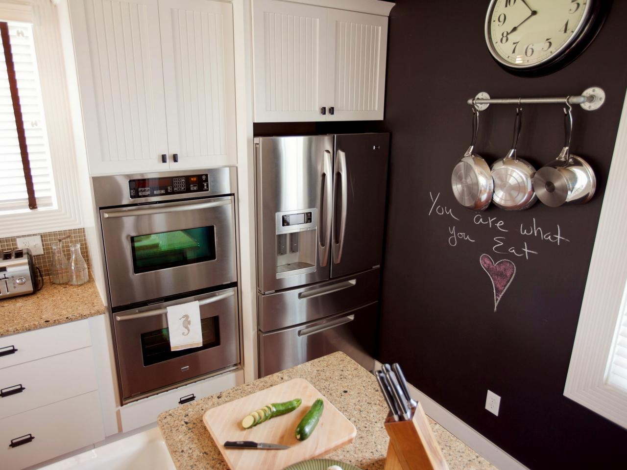 Chalkboard feature wall in the kitchen