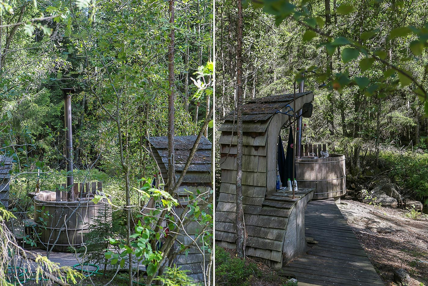 Wooden deck of a forest home