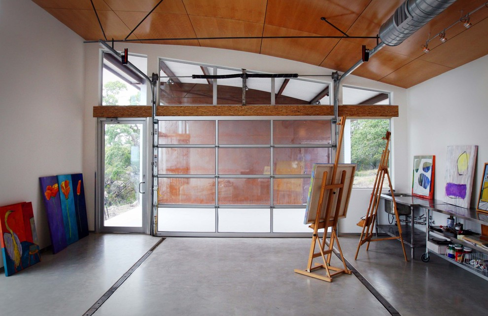 Garage transfromed into an art studio