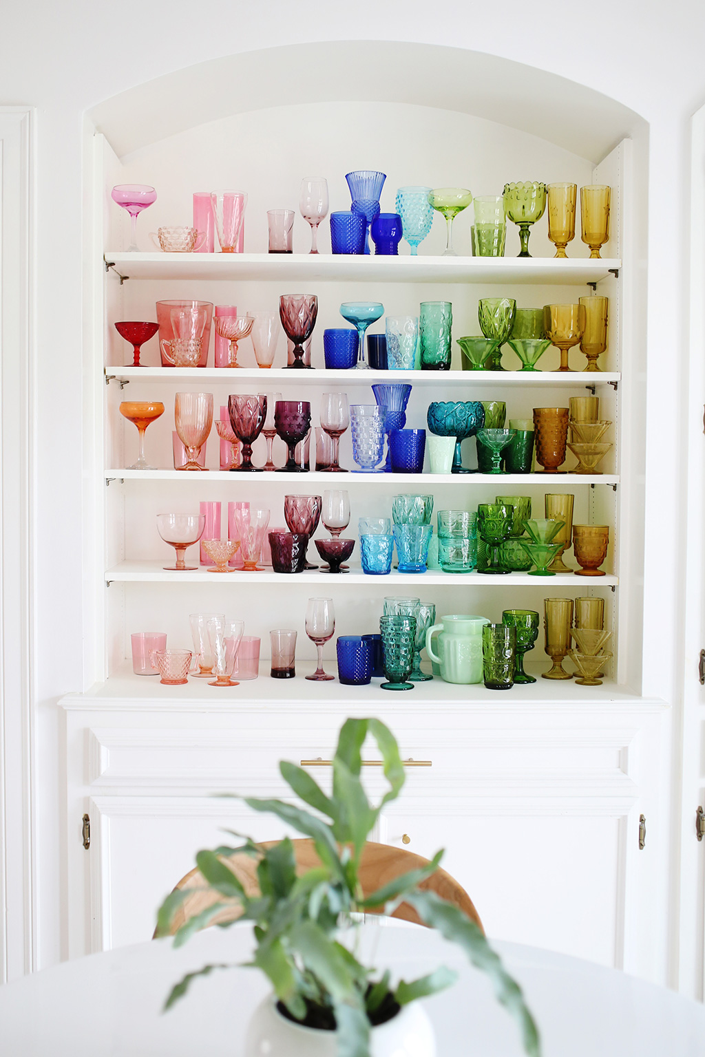 Colorful glassware collection display