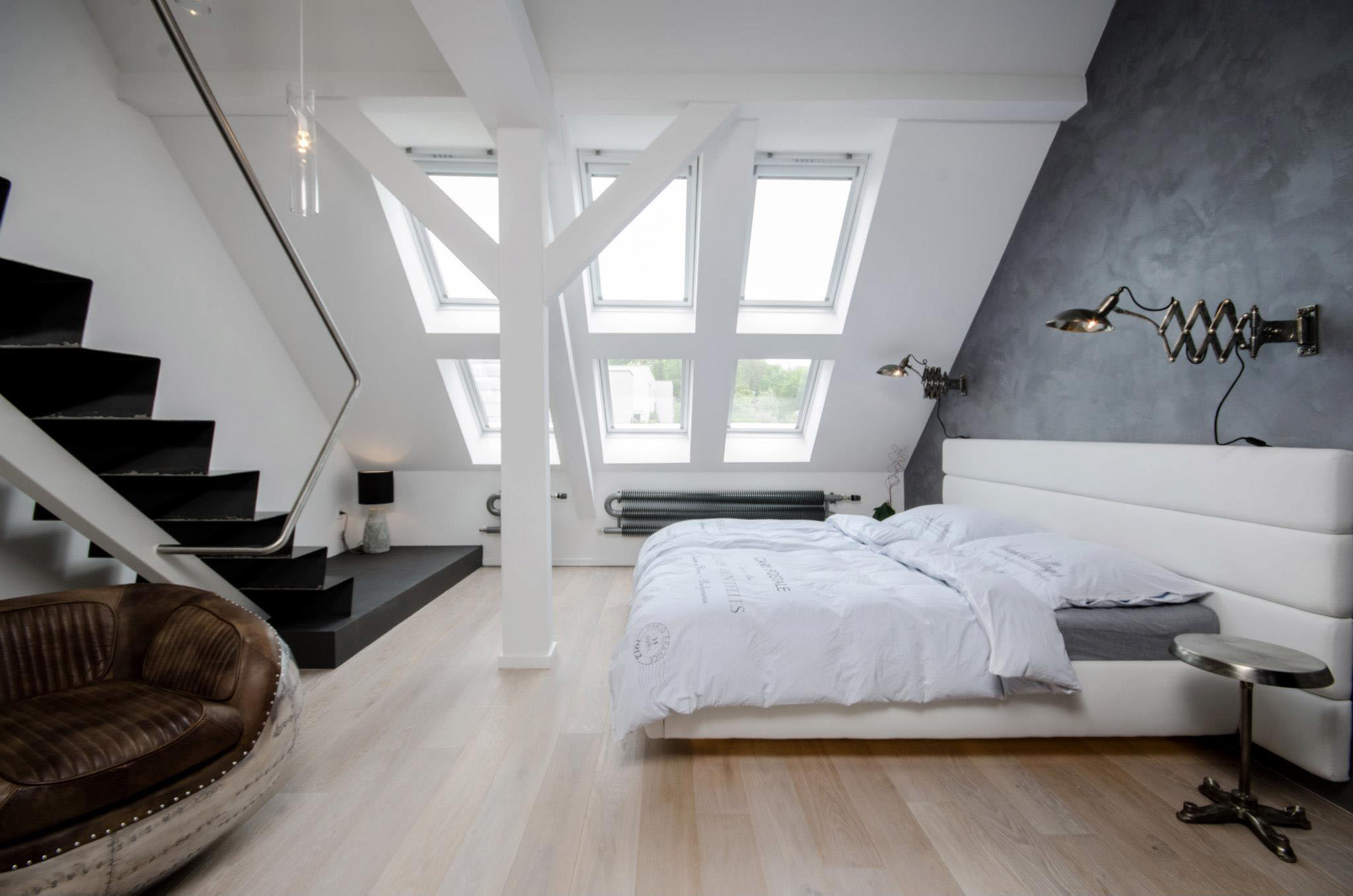 Minimal attic bedroom