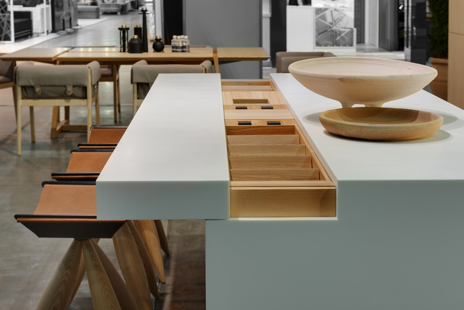 Kitchen island with a sliding top