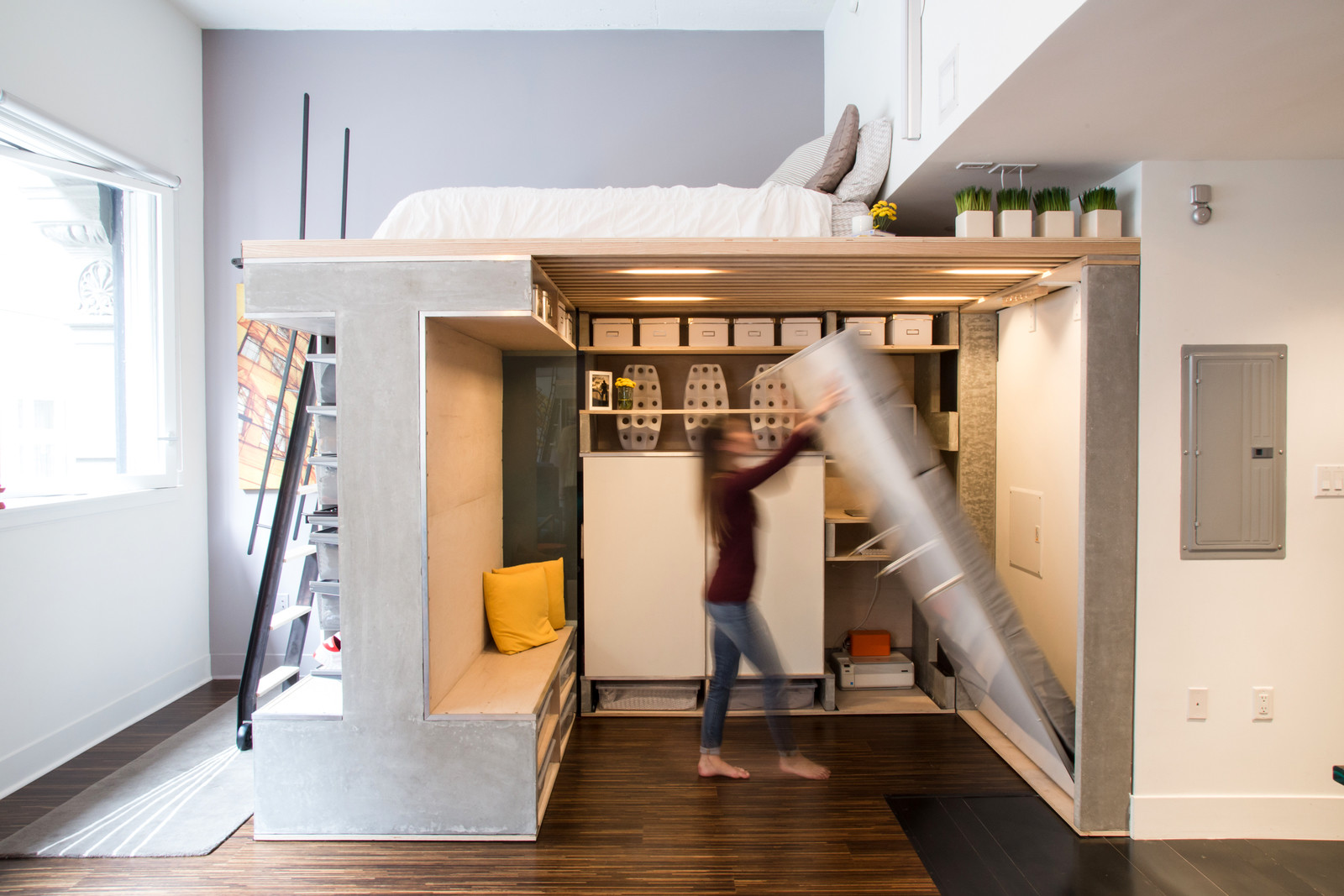 Multi-functional loft unit with a murphy bed