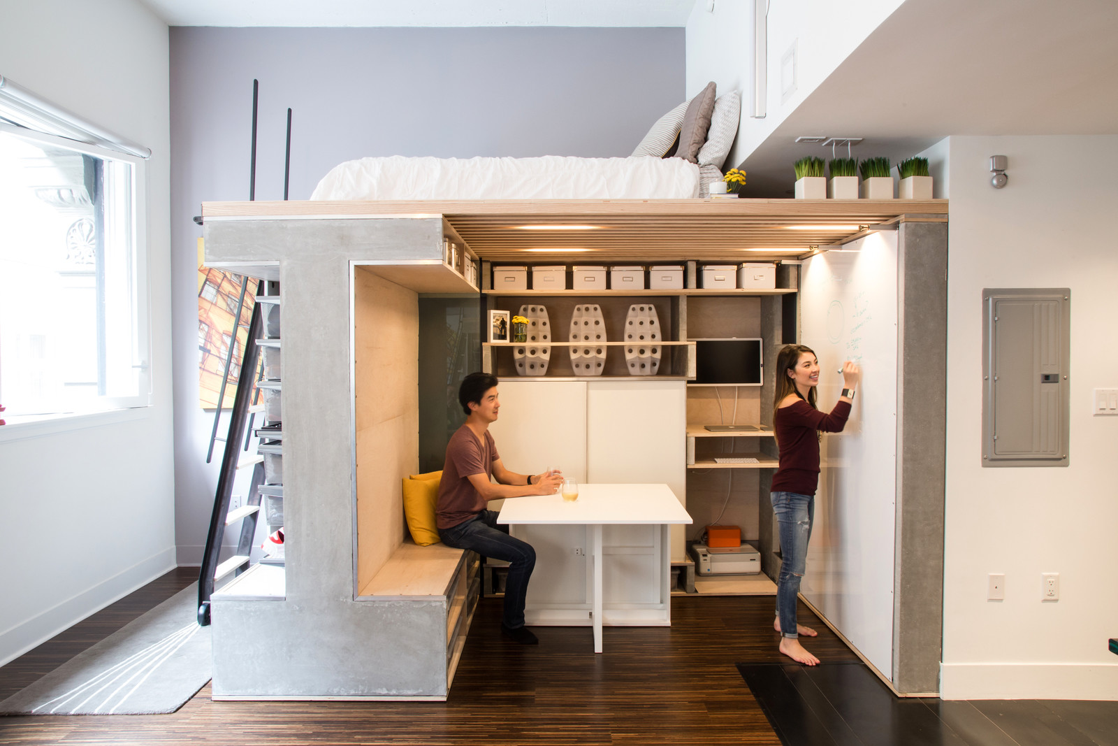 Multi-functional loft unit with a folding dining desk