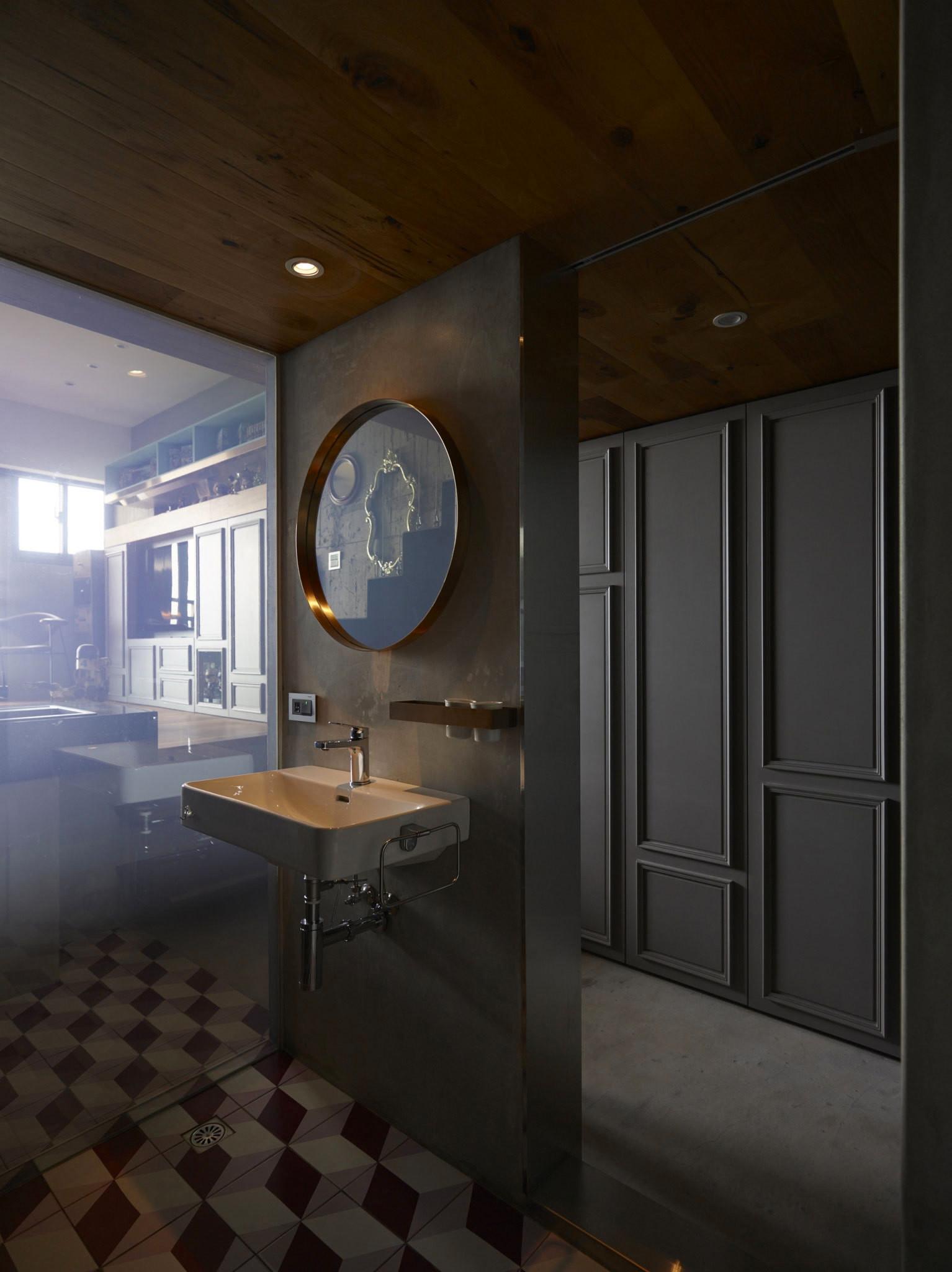 Bathroom in a studio apartment