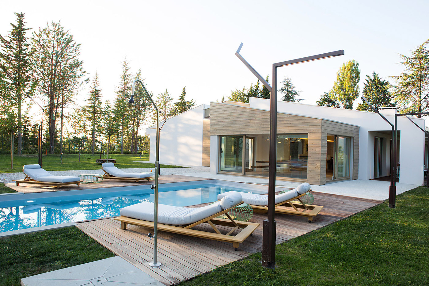 Minimalist family house with pool