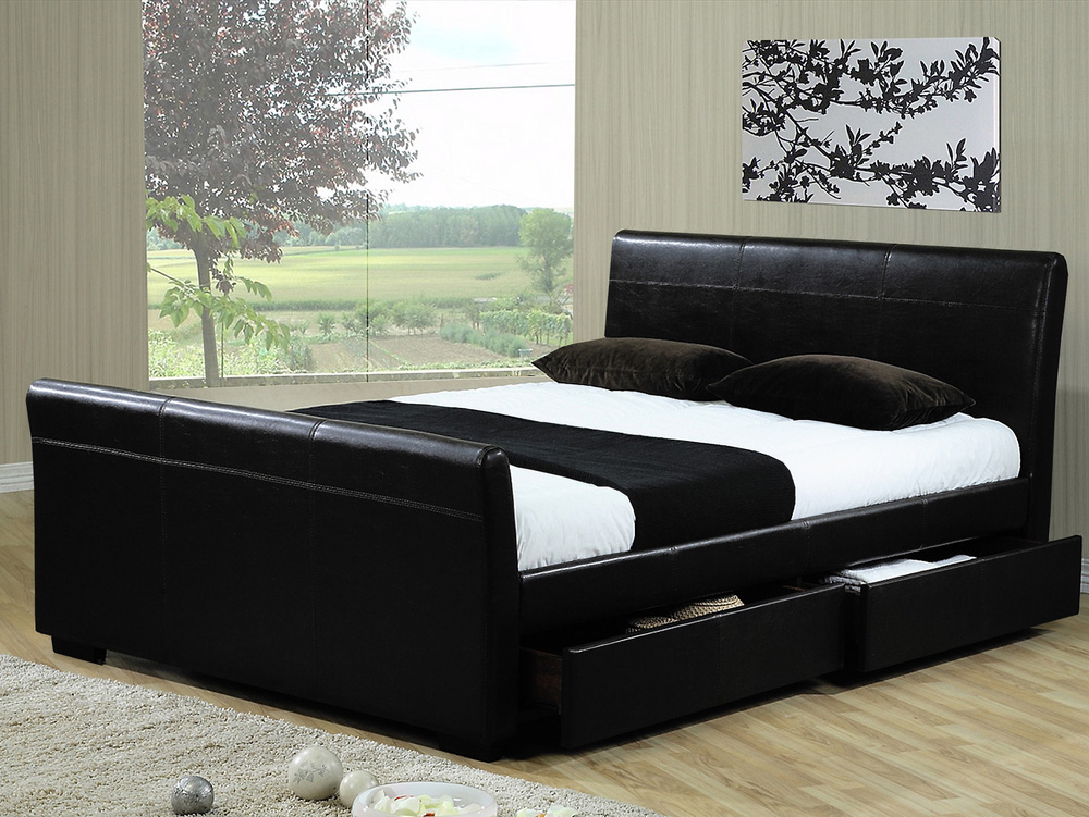 Faux leather bed with storage