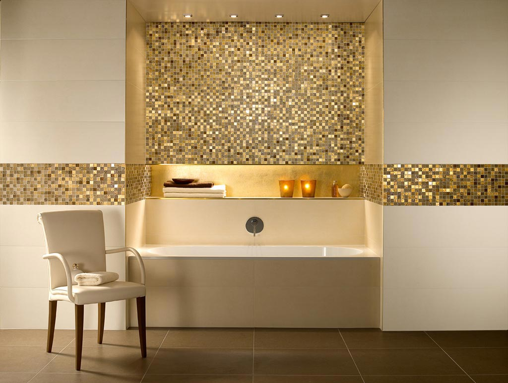 Shiny gold bathroom tiles