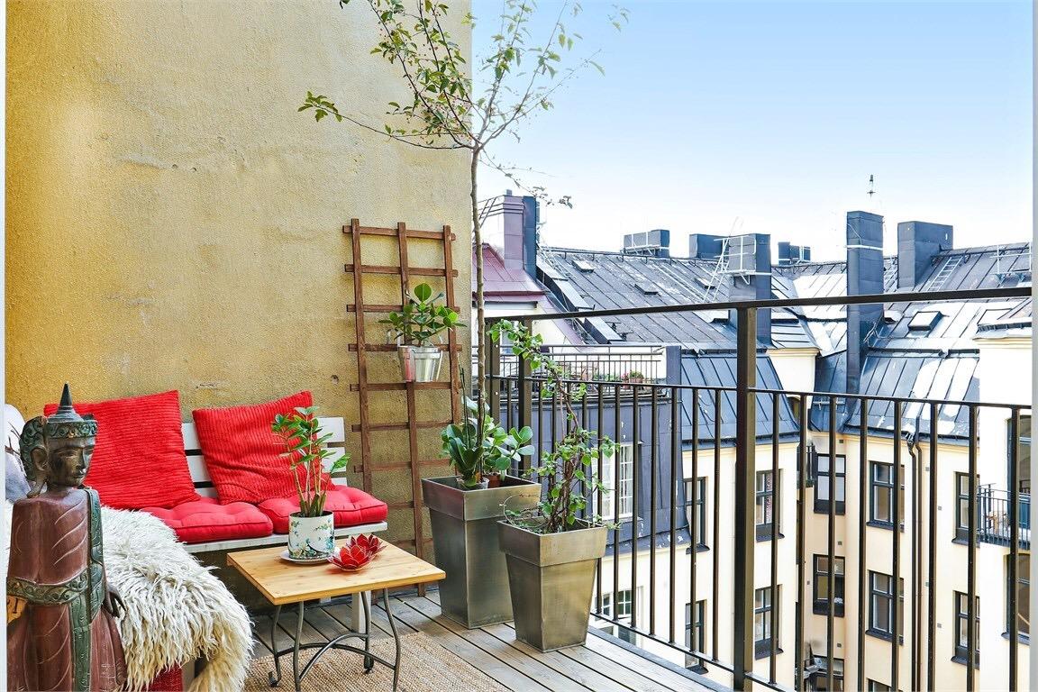 Cozy balcony in a Scandinavian apartment
