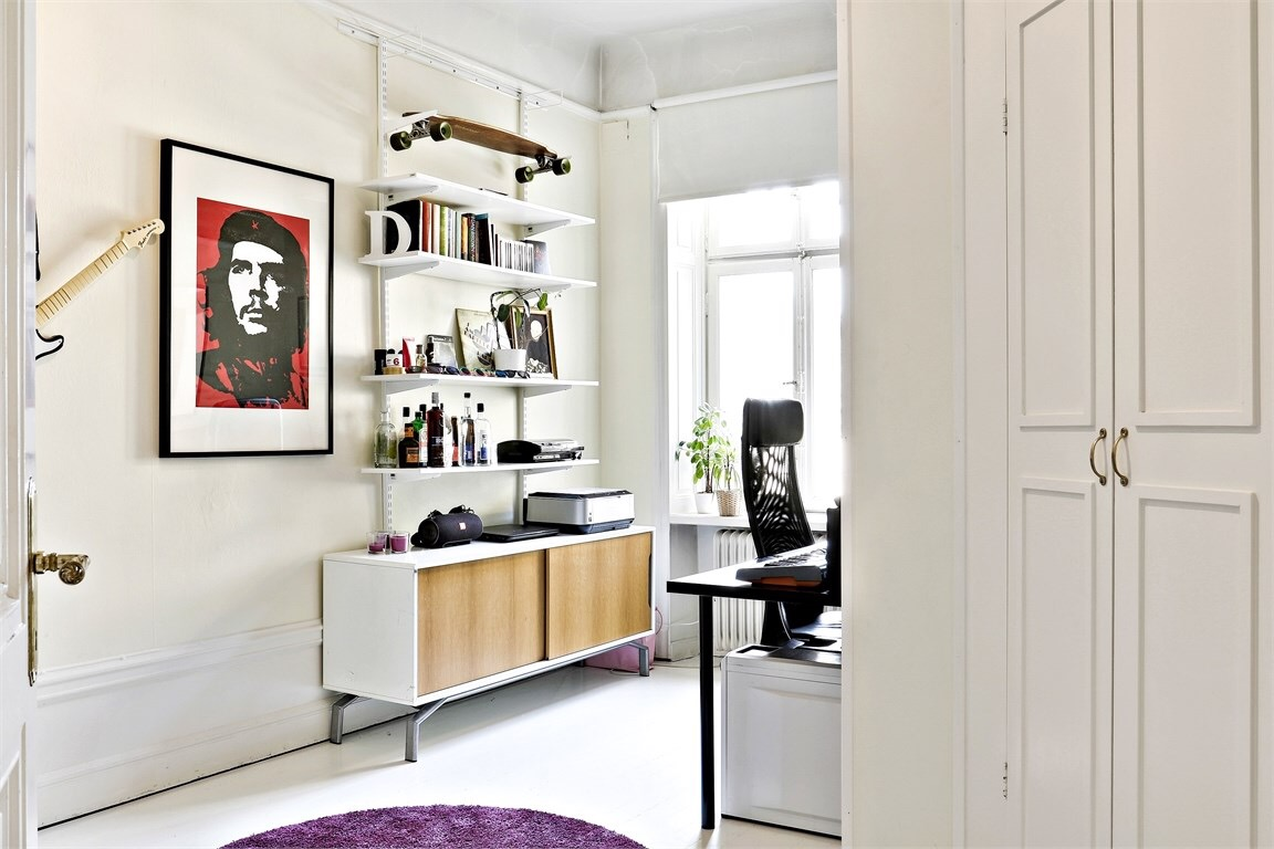 A home office in a Scandinavian style apartment
