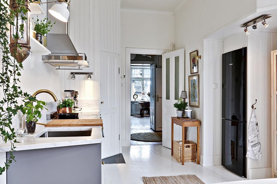 Eclectic Scandinavian Apartment-kitchen area-corridor