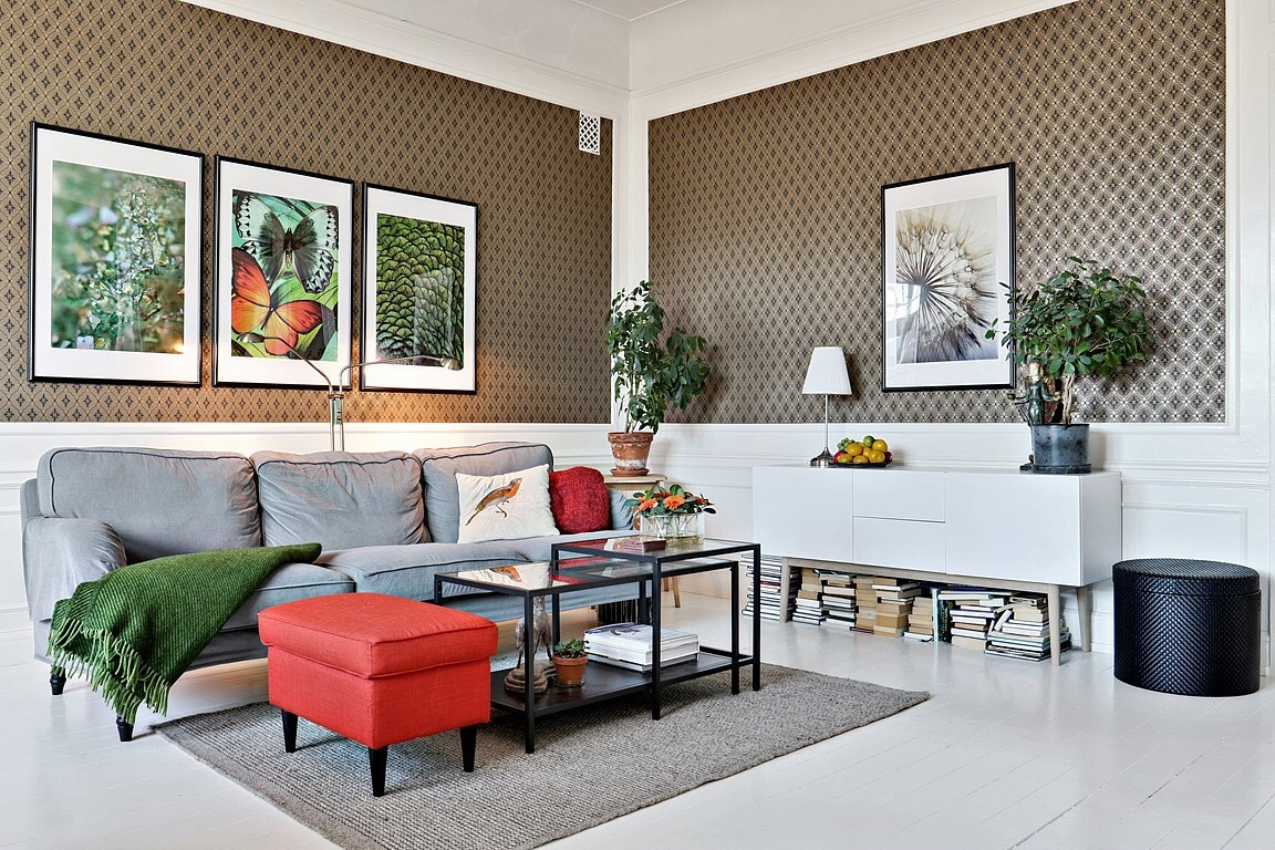 Eclectic Scandinavian Apartment - sofa and coffee table in the living room