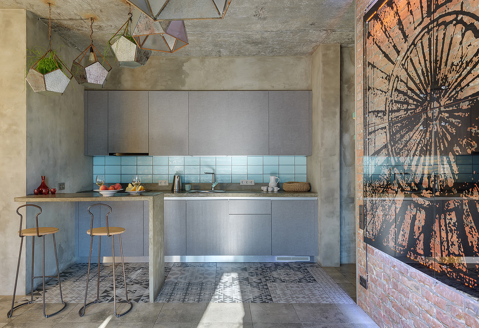 Kitchen with concrete finish walls