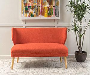 Mid Century Modern Fabric Loveseat Sofa