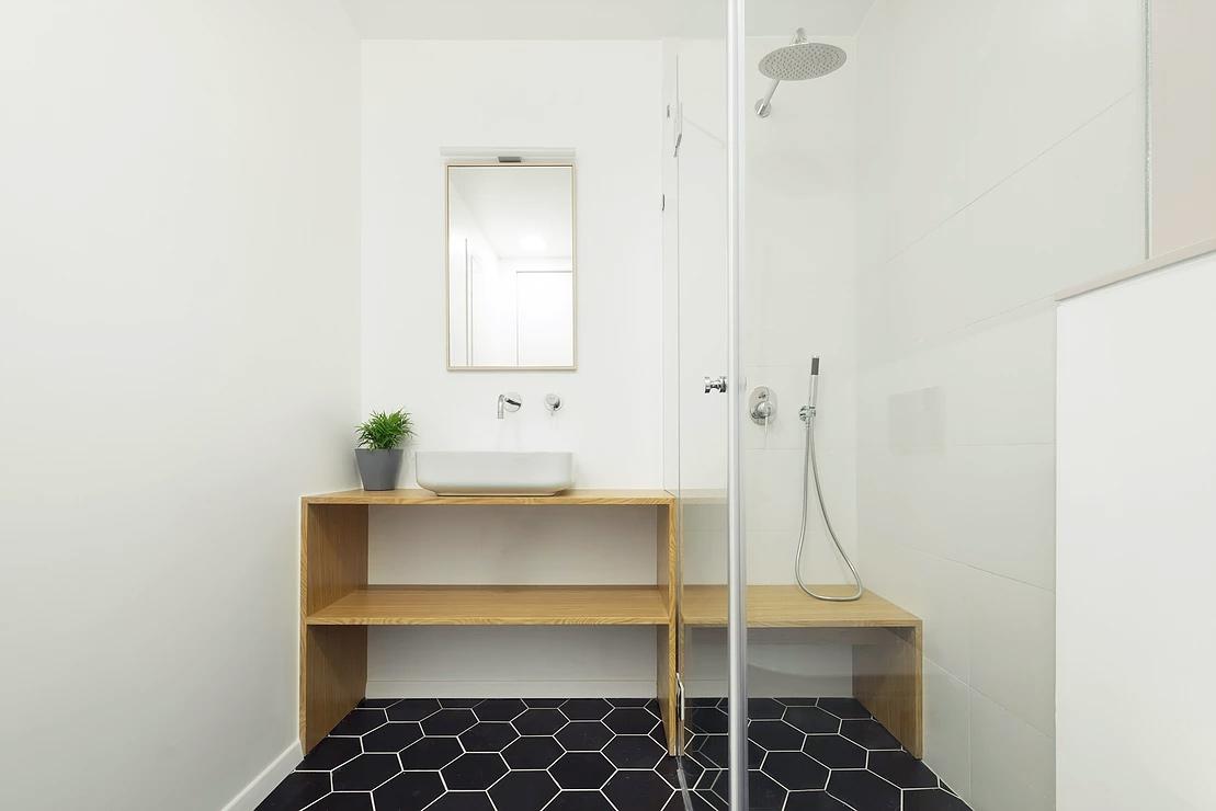 Minimalist bathroom in urban apartment