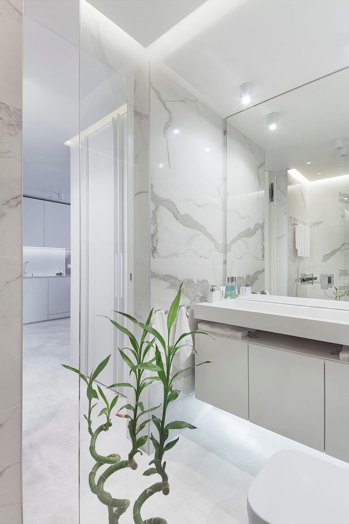 Minimalist marble bathroom
