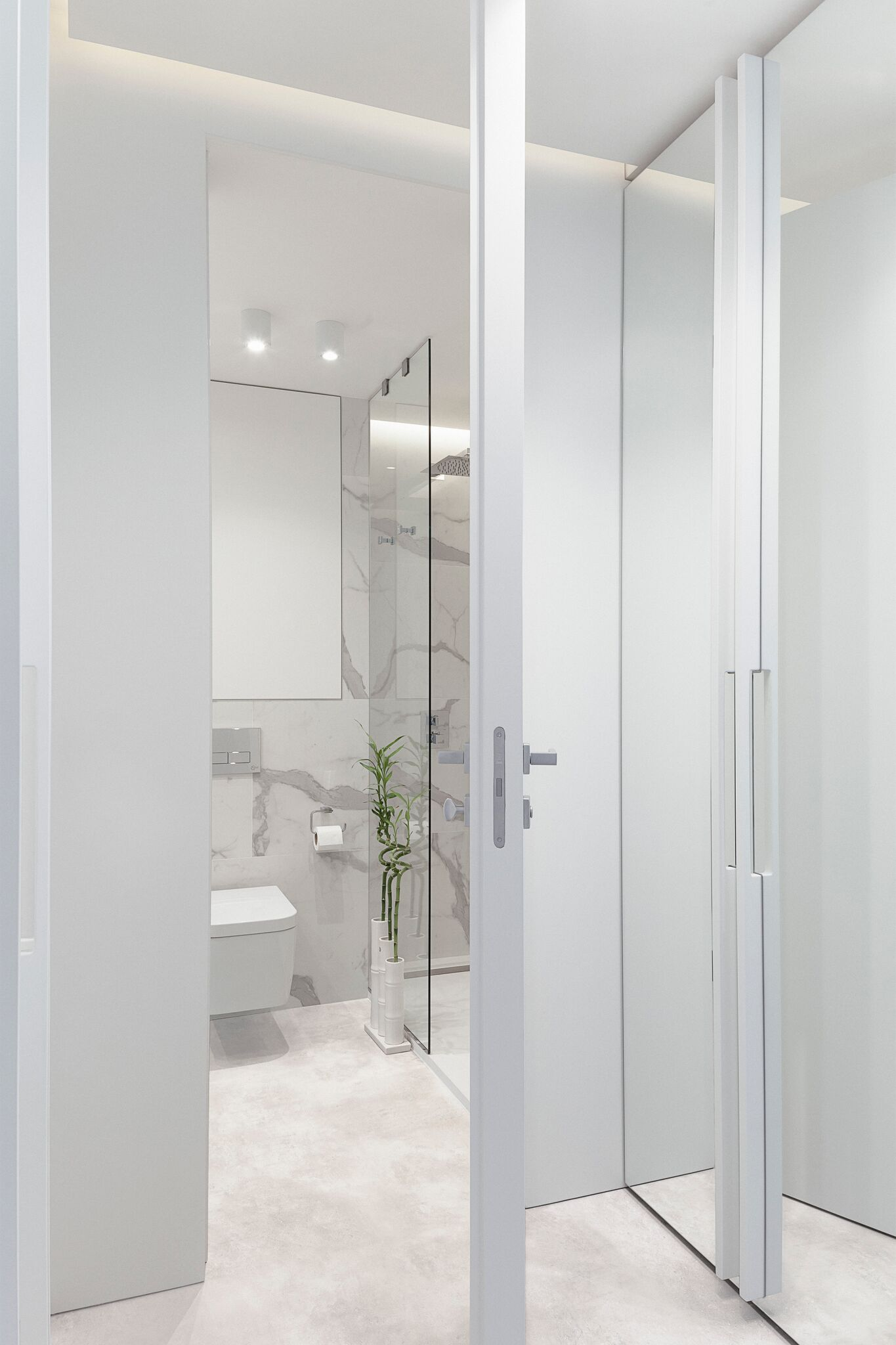 Minimalist white bathroom design