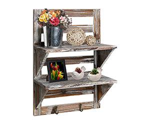 Rustic 2-tier Shelf With Hooks on Amazon