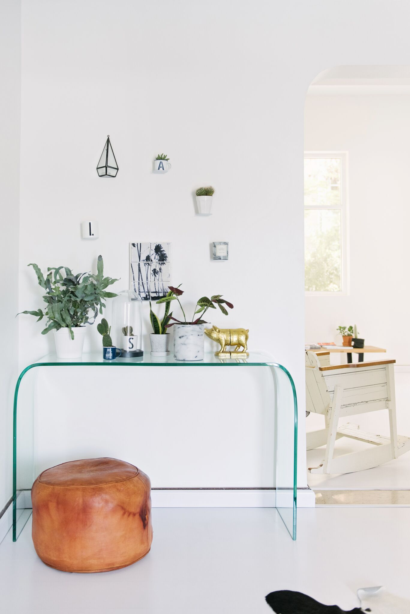 Styled ghost table against white wall