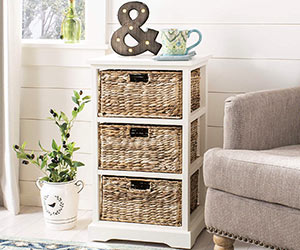 Side Table With Storage Baskets