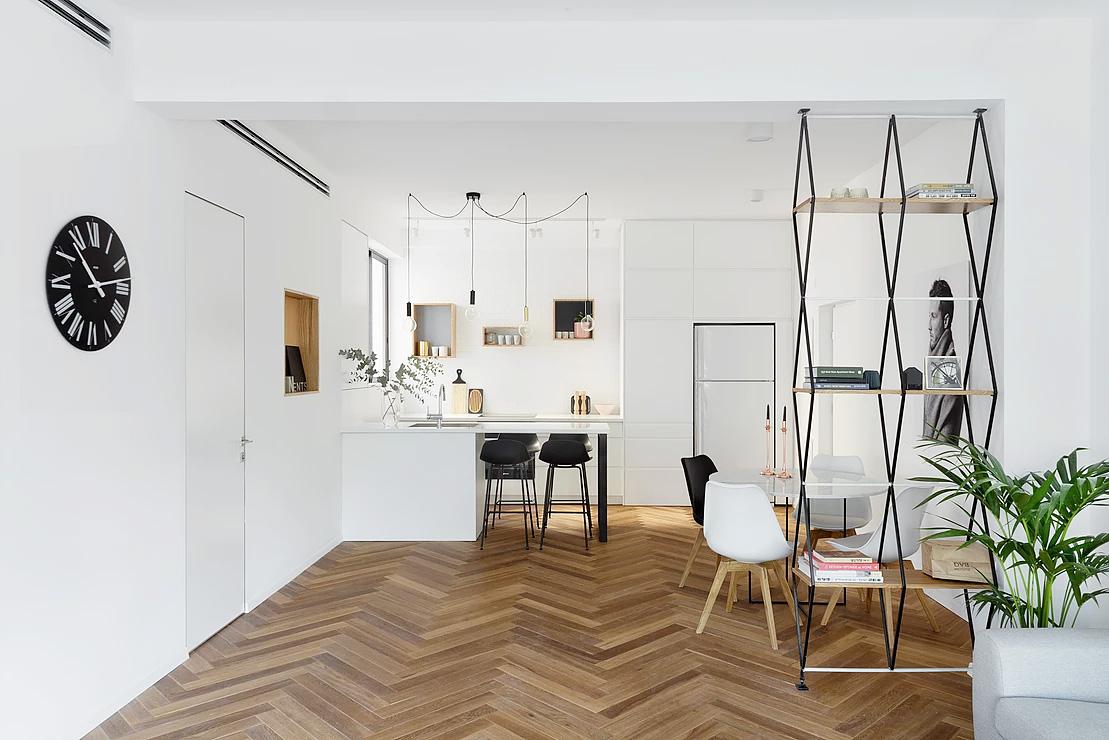 Urban apartment design-view to the kitchen