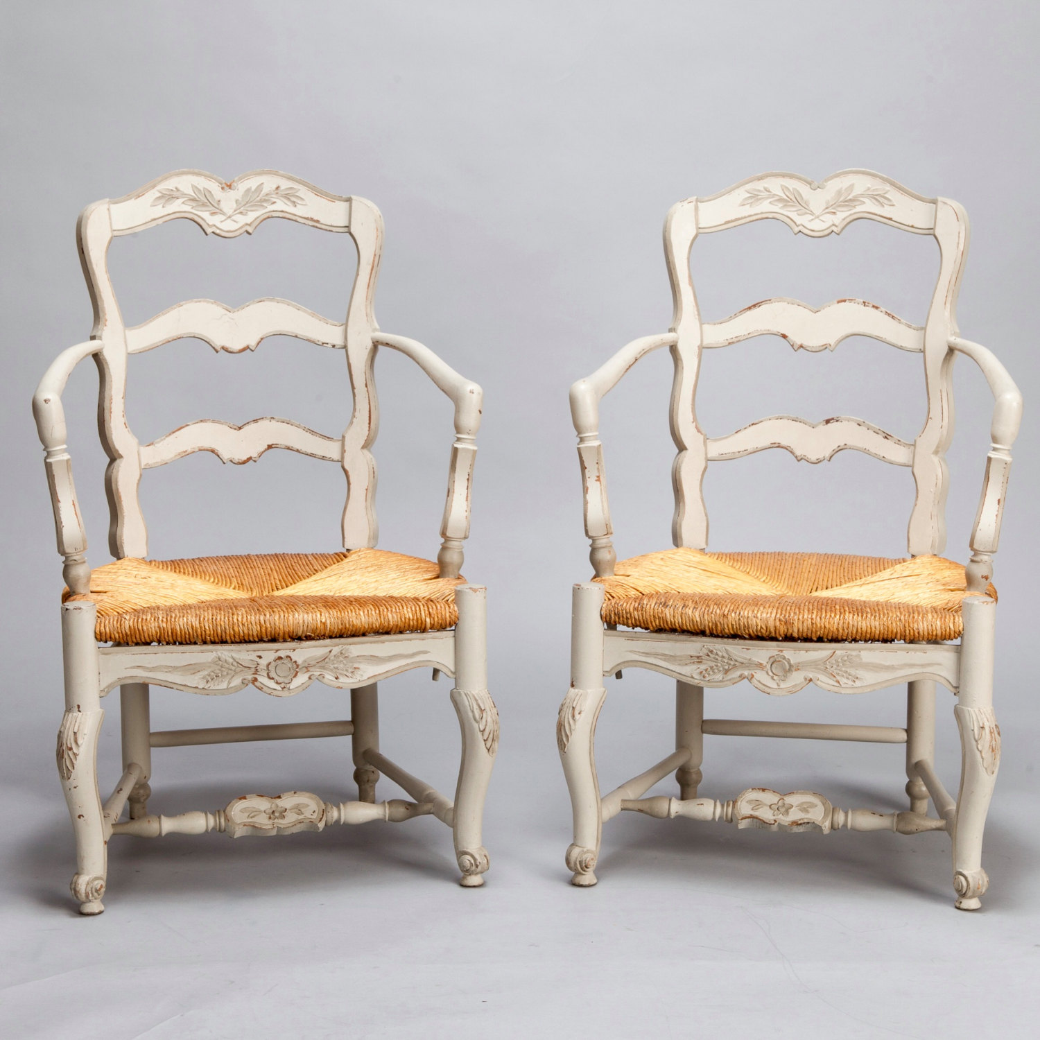 Vintage Armchairs With Rush Seats
