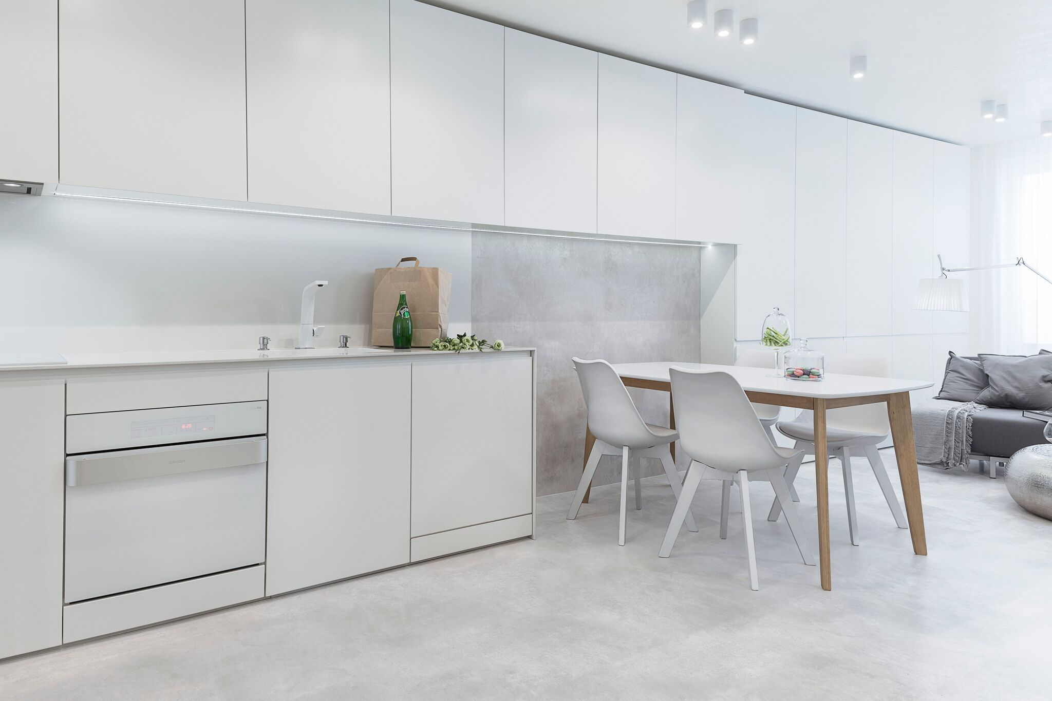 White kitchen-dining area