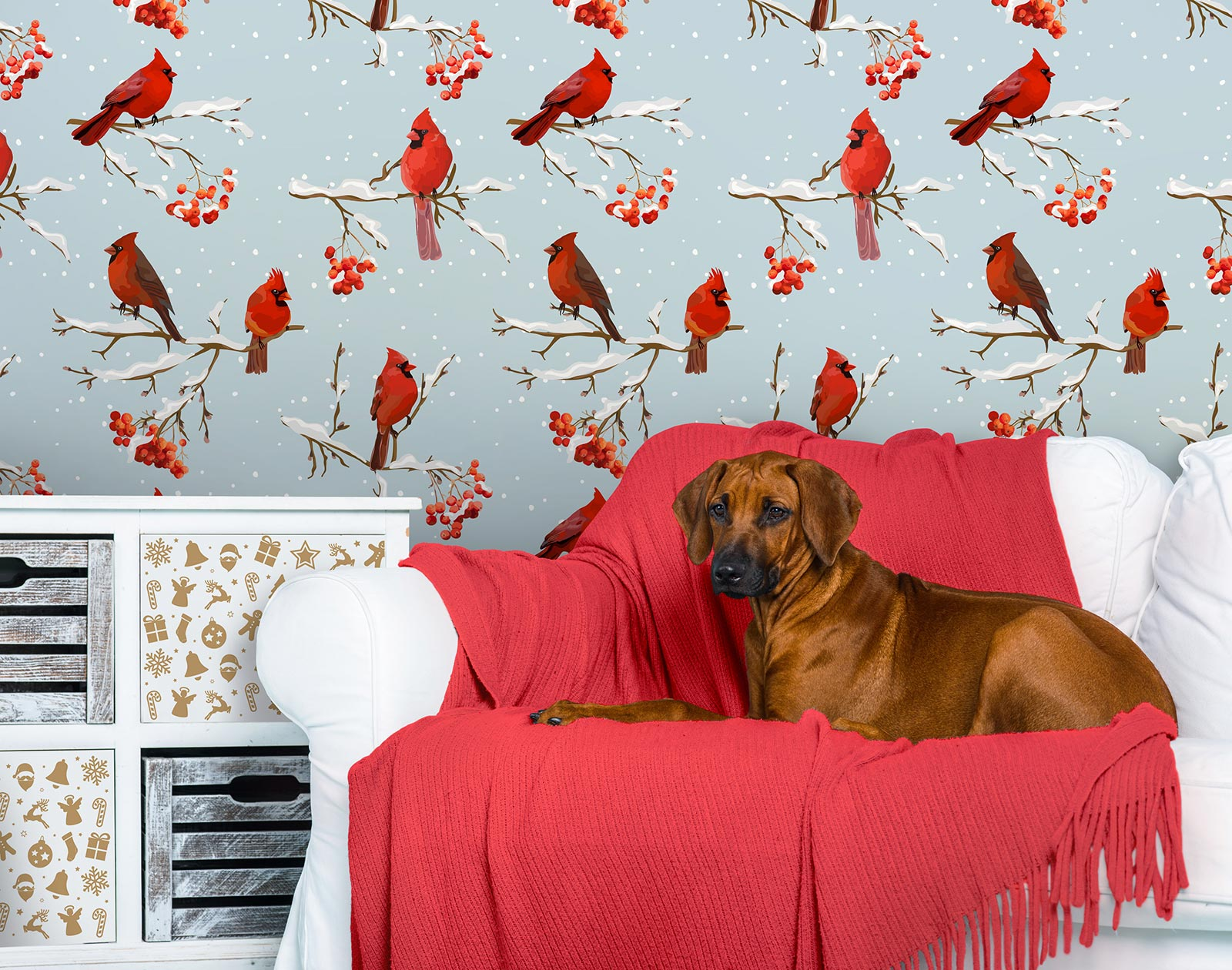 Holiday wall mural with red birds