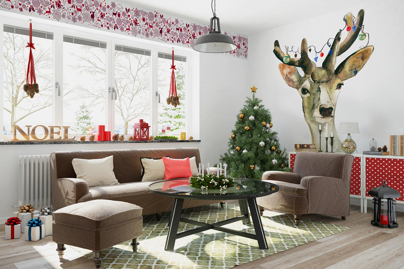 Christmas decor with a deer wall mural