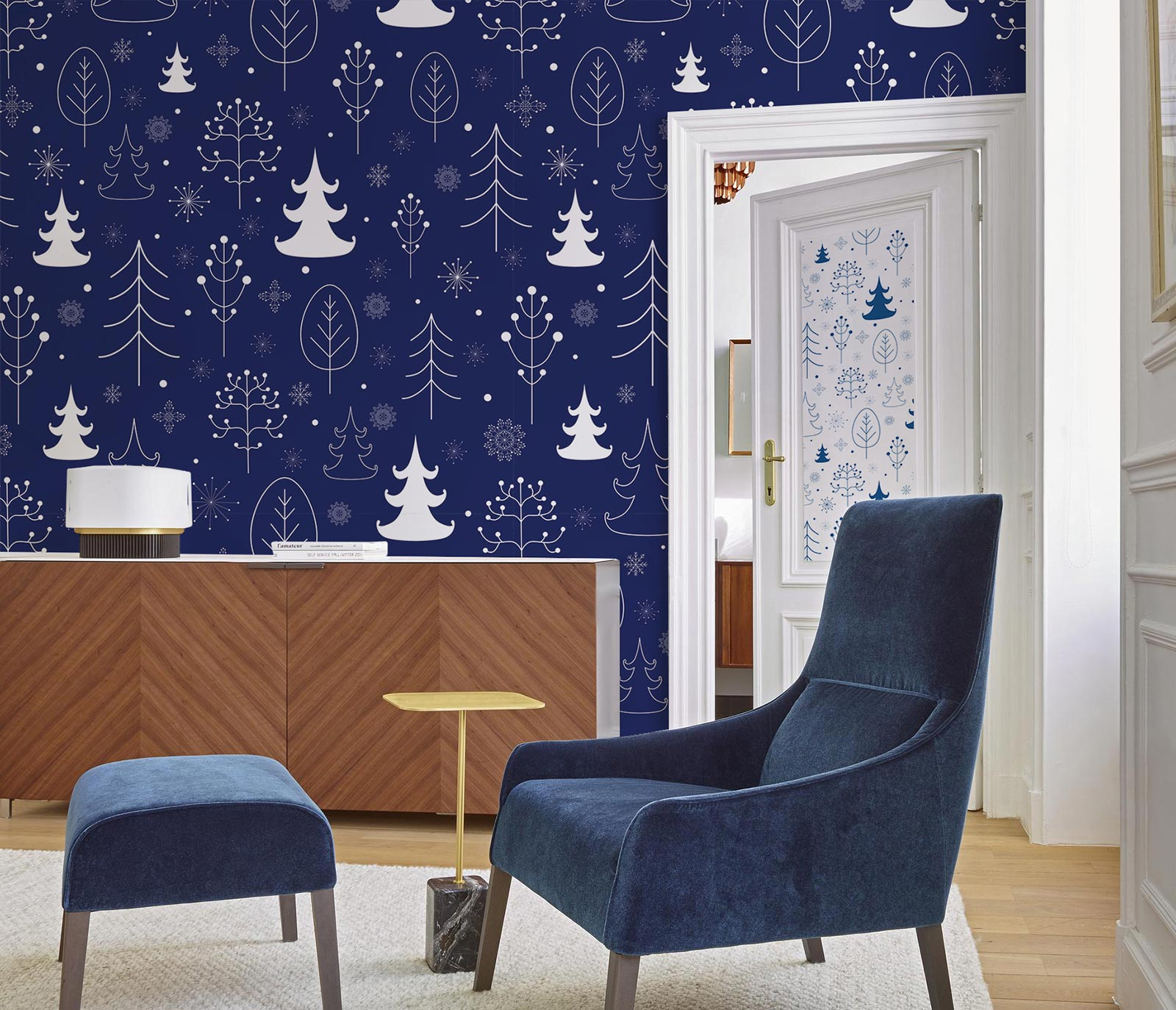 White and blue Christmas wall mural